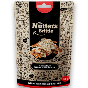The Nutters Brittle - Handcrafted Hazelnut and White Chocolate Nut Brittle 50g - Available at Clicks and Dis-chem stores nationwide