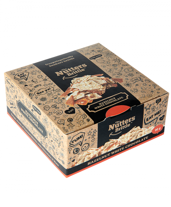 The Nutters Brittle - Handcrafted Hazelnut and White Chocolate Nut Brittle 90g Gift Box - Available Nationwide
